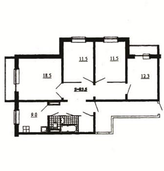 121 серия.  1 комнатные квартиры.